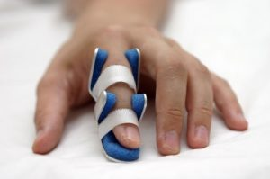 Hand injury with finger in a splint