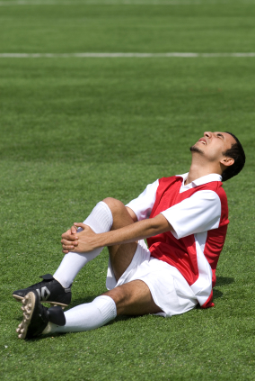 Soccer player with Achilles tendon rupture