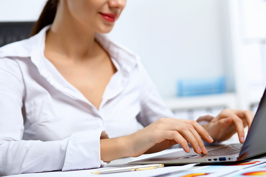 Woman searching for medical information online