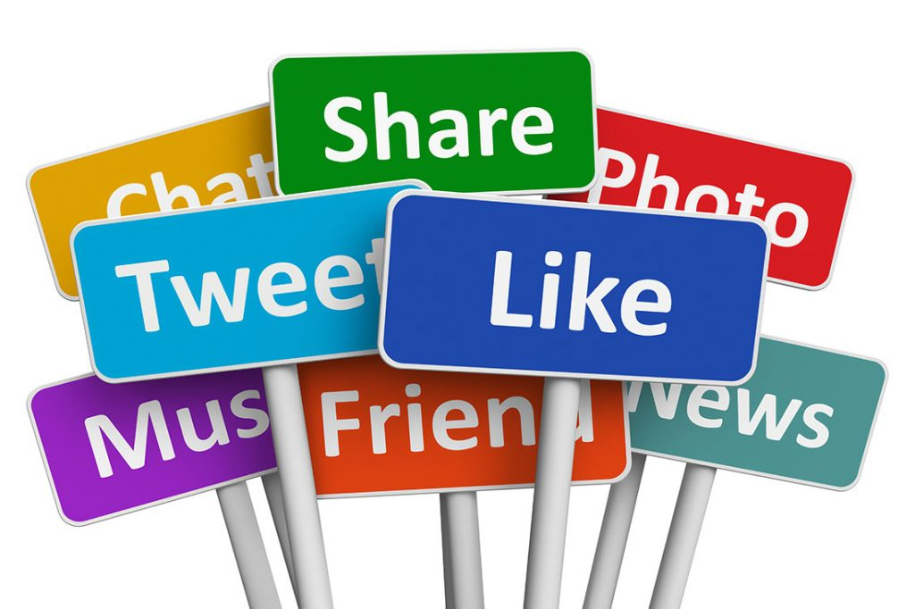 Social media like, tweet and share signs
