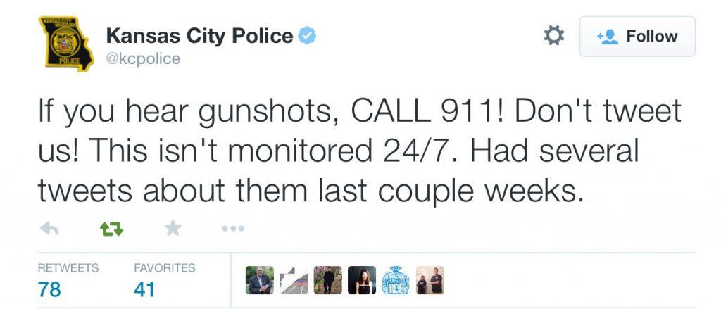 Tweet from police in Kansas City