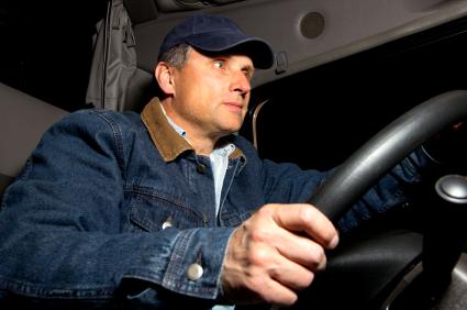 Man driving a truck after surgery