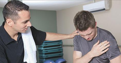 Pectoral tear causing shoulder pain