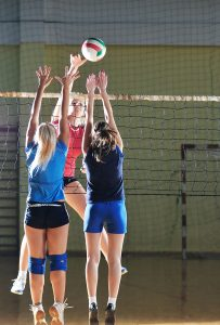 Volleyball injury blocking at the net