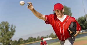 Baseball pitcher at risk for internal impingement