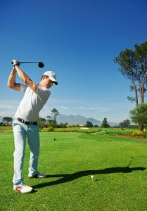 Swinging a golf club after golf injury