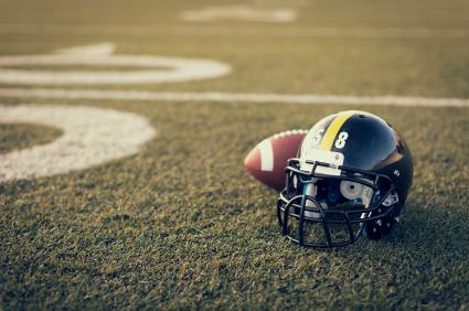 Football helmet on the field