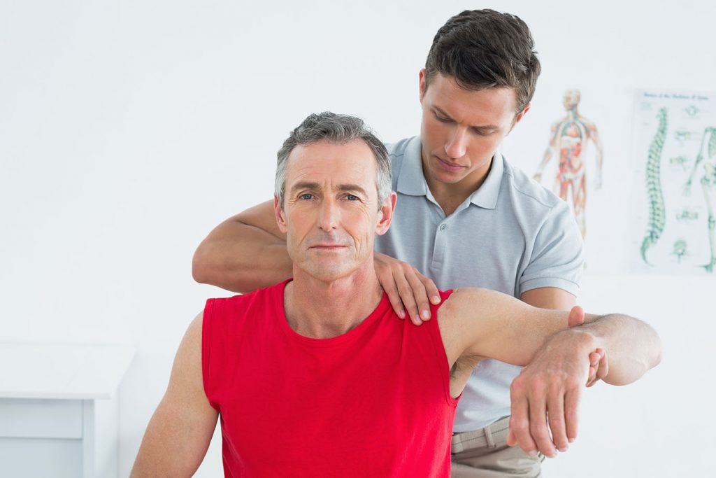 Physical therapy to improve motion for frozen shoulder